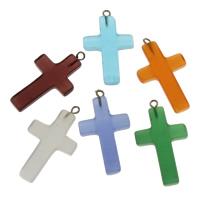 Mode Lampwork Anhänger, mit Zinklegierung Stiftöse, Kreuz, handgemacht, gemischte Farben, 20.50x35.50x3.50mm, Bohrung:ca. 2mm, verkauft von PC