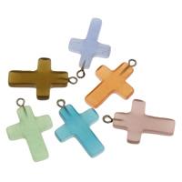 Katzenauge Anhänger, mit Zinklegierung Stiftöse, Kreuz, gemischte Farben, 18.50x27.50x3.50mm, Bohrung:ca. 2mm, verkauft von PC