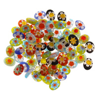 Chevron Glasperlen, Glas Chevron, handgemacht, gemischte Farben, 6x8x2.50mm, Bohrung:ca. 2mm, verkauft von PC
