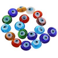 Böser Blick Lampwork Perlen, handgemacht, böser Blick- Muster, 16x8mm, Bohrung:ca. 1mm, ca. 18PCs/Strang, verkauft per ca. 11 ZollInch Strang