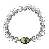 Kristall Armbänder, Edelstahl, mit Seeohr Muschel & Kristall, goldfarben plattiert, für Frau & facettierte, 15x10.5mm, 8x10mm, verkauft per ca. 6 ZollInch Strang