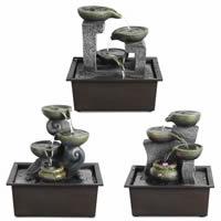 Indoor-Tabletop Entspannung Brunnen für Büro und Wohnzimmer, Harz, verschiedene Stile für Wahl & LED, 210x155x235mm, verkauft von PC