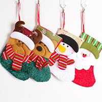 Weihnachtsferien Strümpfe Geschenk Socken, Baumwollsamt, mit Satinband, Weihnachtssocke, Weihnachtsschmuck & verschiedene Stile für Wahl, 100x140x180mm, verkauft von PC