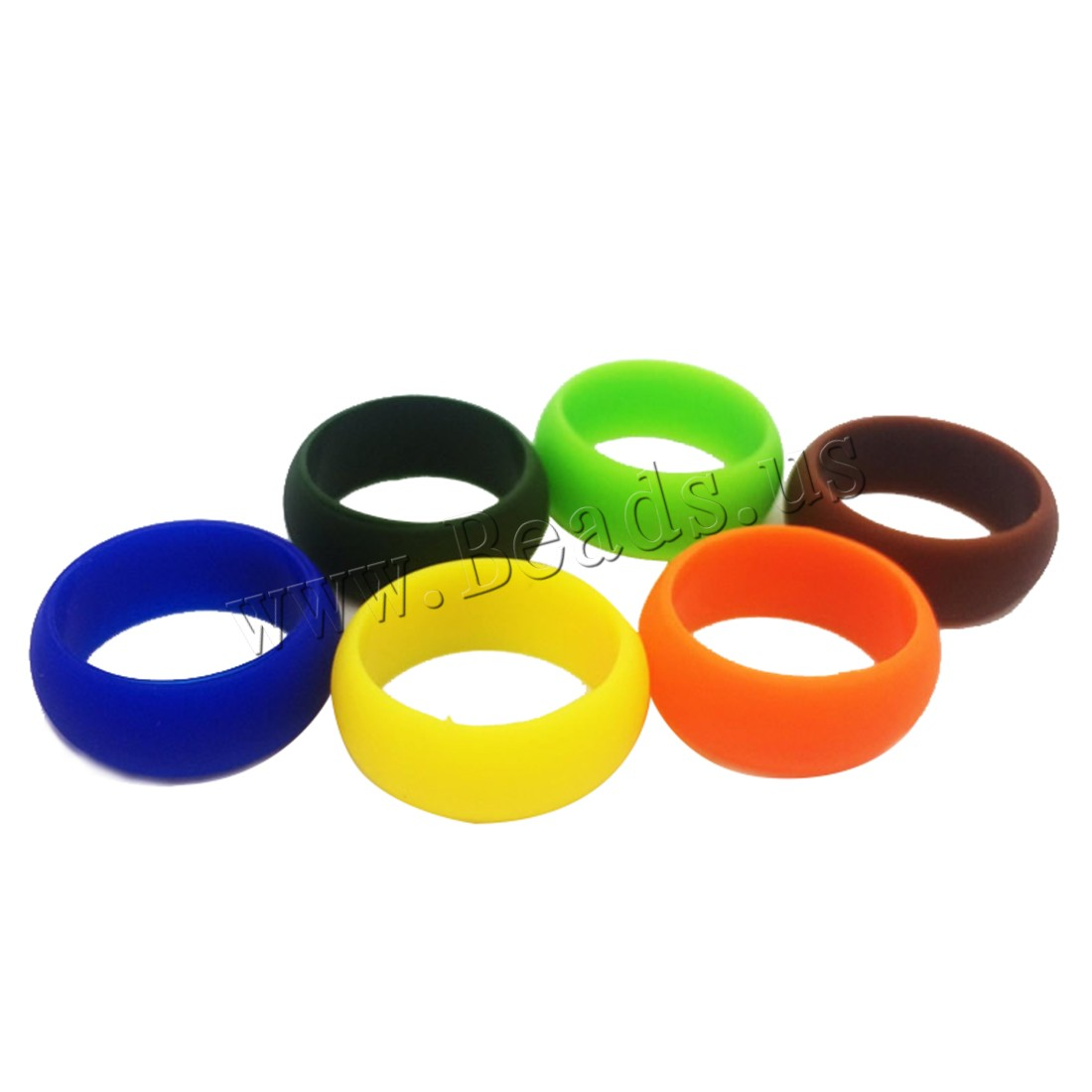 Buy Unisex Finger Ring Silicone mixed ring size mixed colors 12x2mm US Ring Size:6-10 100PCs/Bag Sold Bag