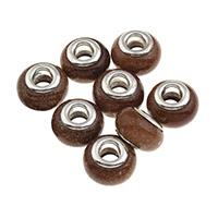 Goldsand European Perlen, Messing-Dual-Core ohne troll, 14x9mm, Bohrung:ca. 5mm, 20PCs/Tasche, verkauft von Tasche