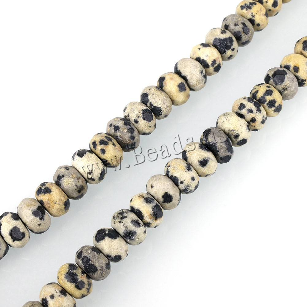 Buy Natural Dalmatian Beads Rondelle faceted 6x8mm Hole:Approx 1mm Approx 75PCs/Strand Sold Per Approx 15 Inch Strand