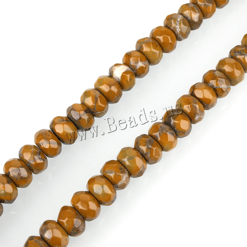 Buy Natural Leopard Skin Stone Bead Rondelle faceted yellow 6x8mm Hole:Approx 1mm Approx 77PCs/Strand Sold Per Approx 15 Inch Strand