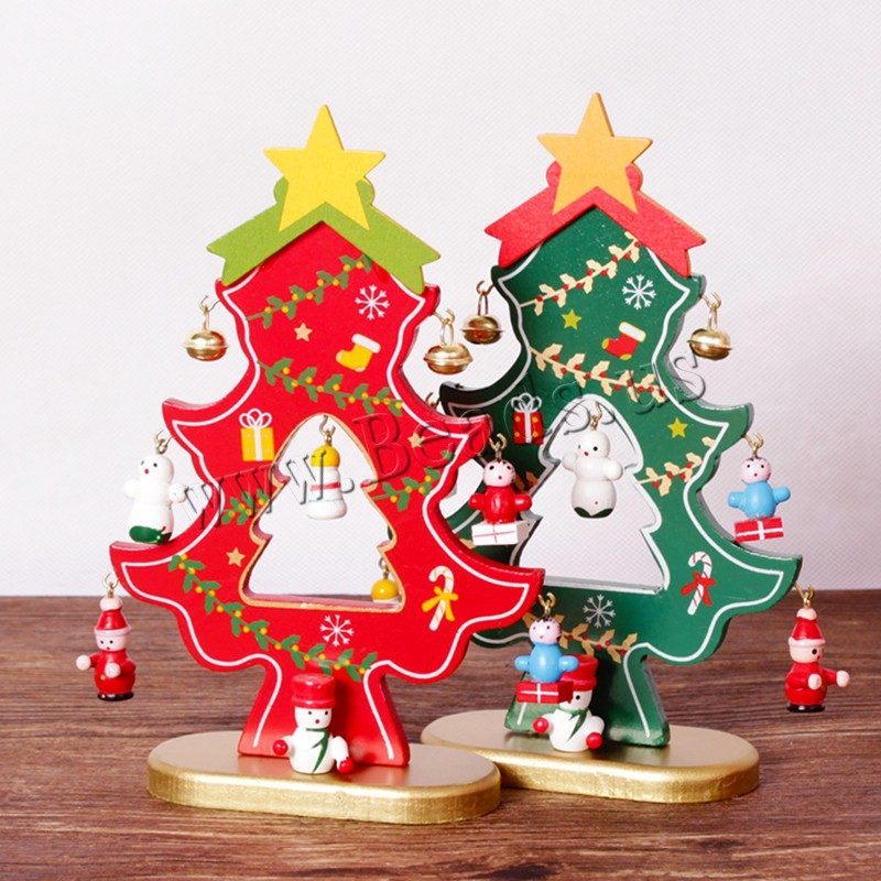 Buy Wood Christmas Decoration Ornaments iron bell Christmas Tree Need set & Christmas jewelry colors choice 110x180mm Sold Set