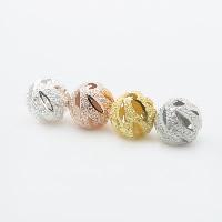 925 Sterling Silber Perlen, rund, plattiert, hohl & Falten, keine, 6mm, Bohrung:ca. 1mm, 5PCs/Menge, verkauft von Menge