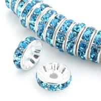 Messing Zwischenperlen, Kreisring, silberfarben plattiert, verschiedene Größen vorhanden & mit Strass, keine, frei von Nickel, Blei & Kadmium, 100PCs/Tasche, verkauft von Tasche