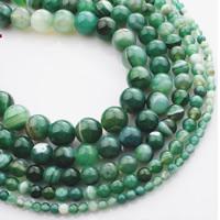 Natürliche Streifen Achat Perlen, rund, verschiedene Größen vorhanden, grün, verkauft per ca. 15 ZollInch Strang