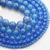 Natürliche blaue Achat Perlen, Blauer Achat, rund, verschiedene Größen vorhanden, verkauft per ca. 15 ZollInch Strang