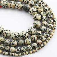 Dalmatinische Perlen, Dalmatiner, rund, natürlich, verschiedene Größen vorhanden, verkauft per ca. 15 ZollInch Strang