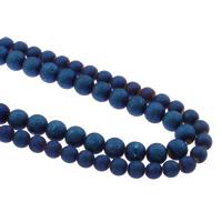 Kristall-Perlen, Kristall, rund, plattiert, verschiedene Größen vorhanden & satiniert, Crystal Bermuda Blue, Bohrung:ca. 1mm, verkauft per ca. 15.5 ZollInch Strang