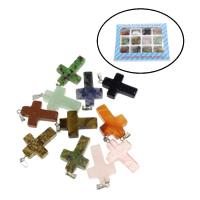Gemischte Edelstein Anhänger, mit Zinklegierung, Kreuz, 130x100x18mm, 18x28x5.5mm, Bohrung:ca. 2mm, 12PCs/Box, verkauft von Box