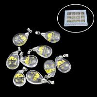Glas Anhänger, mit Zinklegierung, 130x100x18mm, 14x23x6.5mm, Bohrung:ca. 2mm, 12PCs/Box, verkauft von Box