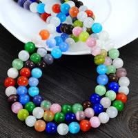 Cats Eye Perlen Schmuck, Katzenauge, rund, gemischte Farben, 8mm, Bohrung:ca. 1.5mm, 100PCs/Strang, verkauft per ca. 30 ZollInch Strang