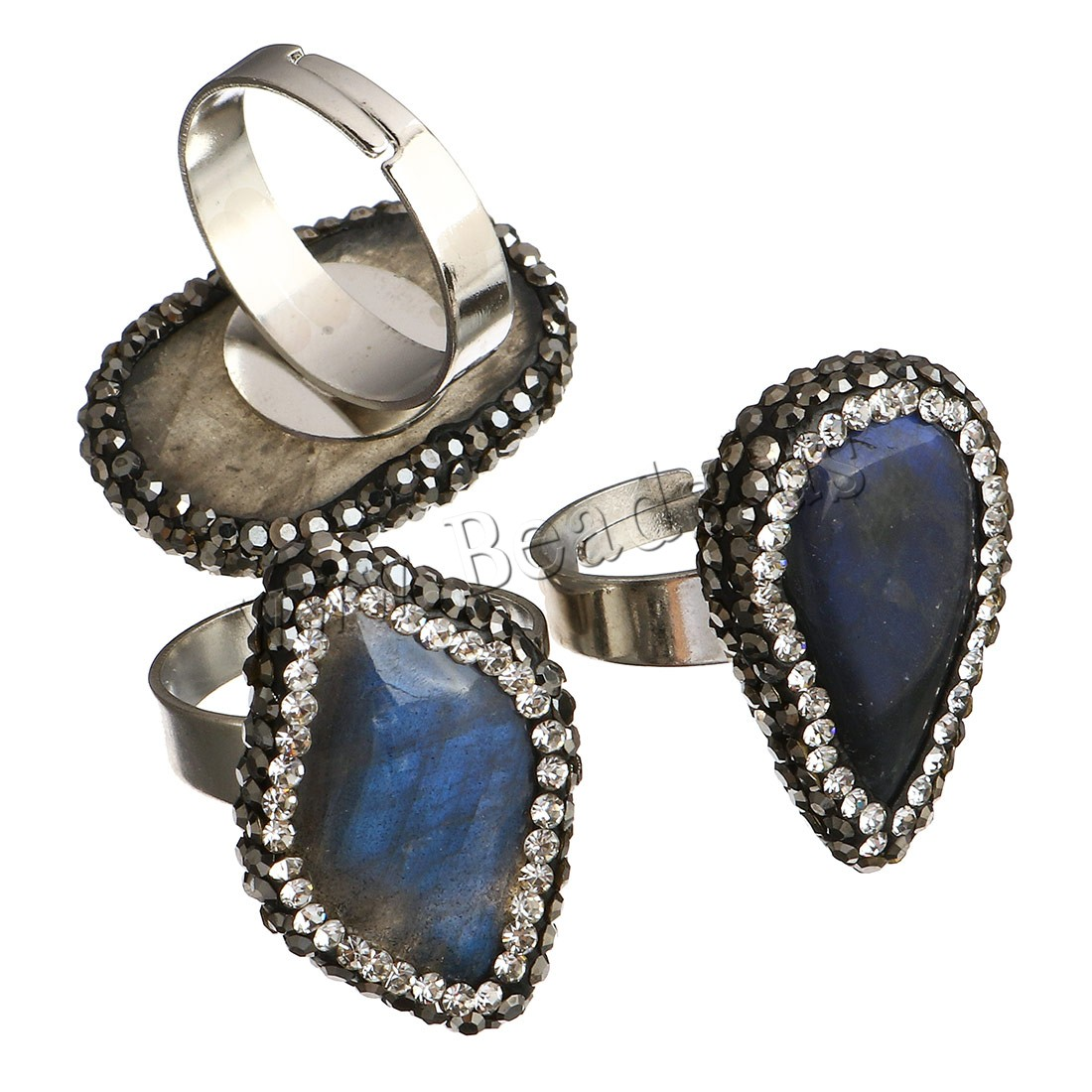 Buy Labradorite Open Finger Ring Brass silver color plated Unisex & mixed 17-19x26-27mm US Ring Size:6 Sold PC