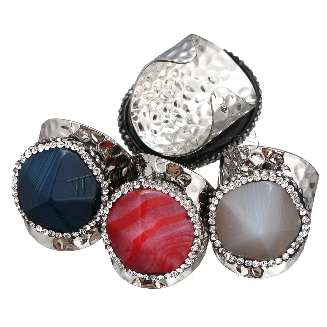 Buy Agate Cuff Finger Ring Rhinestone Clay Pave & Brass silver color plated natural & Unisex & mixed 23-28x23-36mm US Ring Size:10.5 Sold PC