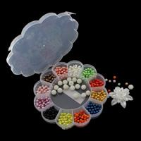 Kunststoffperlen, Kunststoff, mit Kunststoff Kasten, 6-48x54x19mm, 157x25mm, Innendurchmesser:ca. 1mm, verkauft von Box