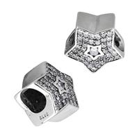 925 Sterlingsilber European Perlen, 925 Sterling Silber, Stern, Micro pave Zirkonia & ohne troll, 11.50x11x8mm, Bohrung:ca. 5mm, verkauft von PC
