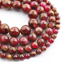 Goldsand Perle, rund, verschiedene Größen vorhanden, rot, verkauft per ca. 15 ZollInch Strang