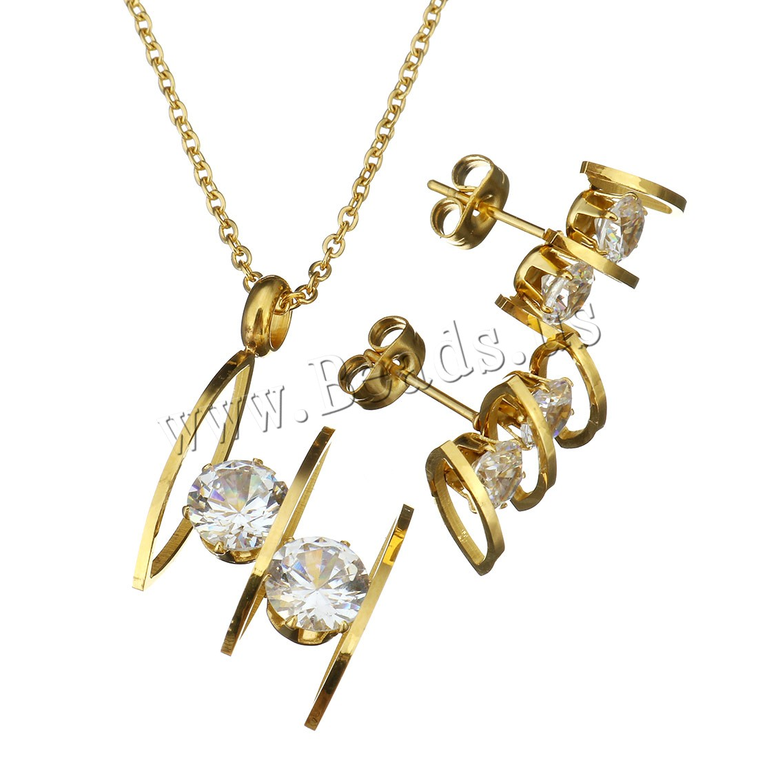 Buy Crystal Jewelry Sets earring & necklace Stainless Steel Crystal 2Inch extender chain gold color plated oval chain & woman 19x33mm 1.5mm 12x15mm Length:Approx 17 Inch 10Sets/Lot Sold Lot