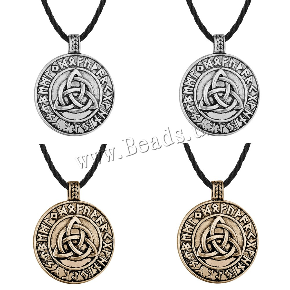 Buy Men Necklace Zinc Alloy Waxed Linen Cord 5cm extender chain Flat Round plated letter pattern & man colors choice lead & cadmium free 450mm Sold Per Approx 17.5 Strand