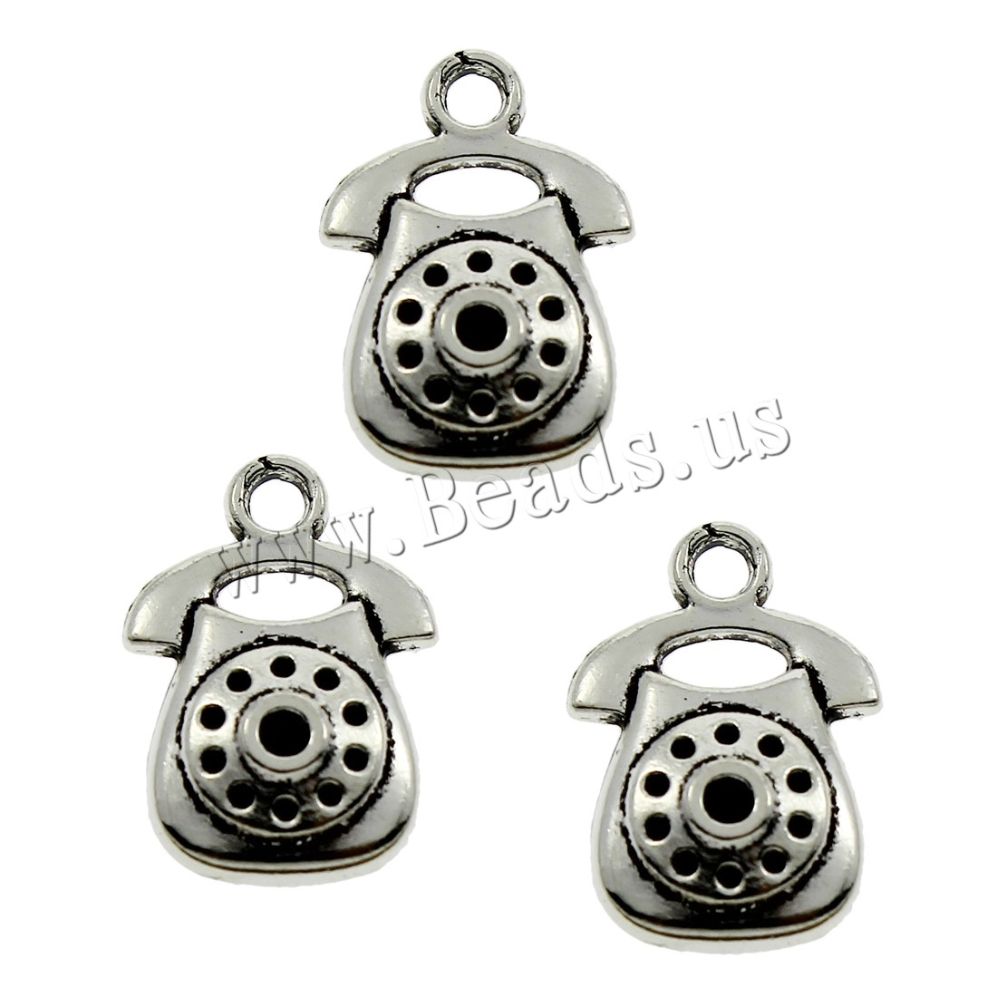 Buy Zinc Alloy Pendants Telephone antique silver color plated lead & cadmium free 12x17x2mm Hole:Approx 1.5mm 500PCs/Bag Sold Bag