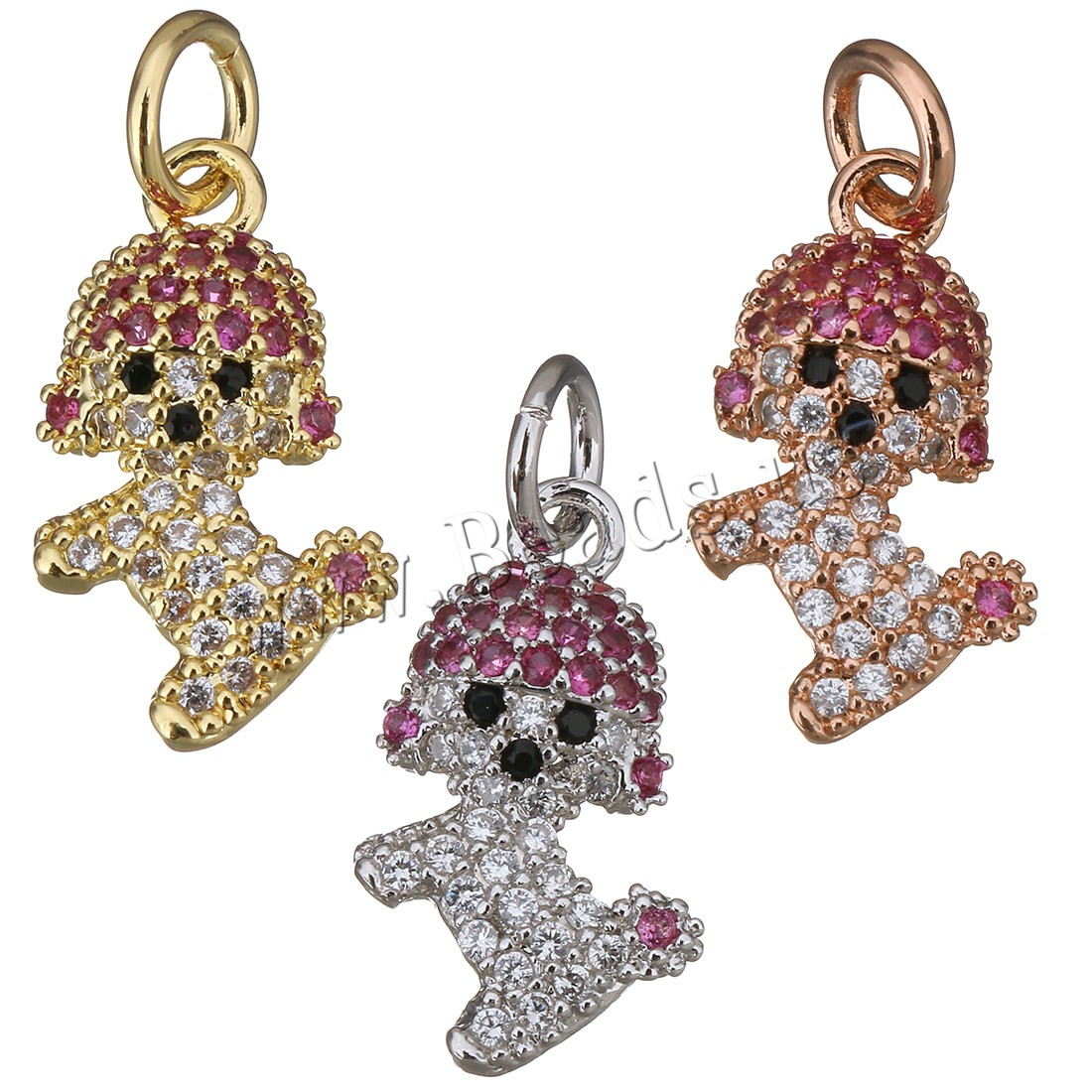 Buy Cubic Zirconia Micro Pave Brass Pendant Dog plated micro pave cubic zirconia colors choice 9x15x3mm Hole:Approx 3mm 1 Sold Lot