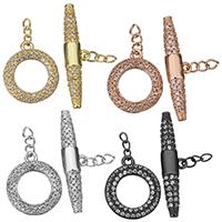 Messing Knebelverschluss, plattiert, mit Verlängerungskettchen & Twist oval & Micro pave Zirkonia, keine, 14x16mm, 4mm, 6x26.5x4mm, 5SetsSatz/Menge, verkauft von Menge