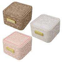 Baumwollsamt Ringkasten, PU Leder, mit Baumwollsamt & Zinklegierung, Rechteck, , goldfarben plattiert, keine, frei von Nickel, Blei & Kadmium, 70x73x49mm, 12PCs/Tasche, verkauft von Tasche