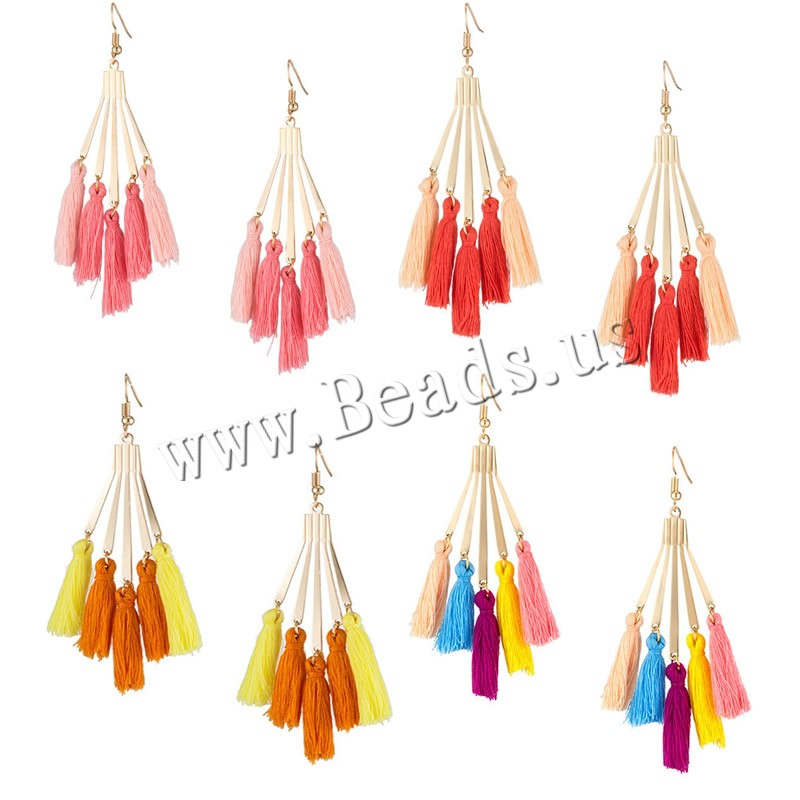 Buy Fashion Fringe Earrings Zinc Alloy Nylon Cord brass earring hook gold color plated woman colors choice nickel lead & cadmium free 25x89mm Sold Pair