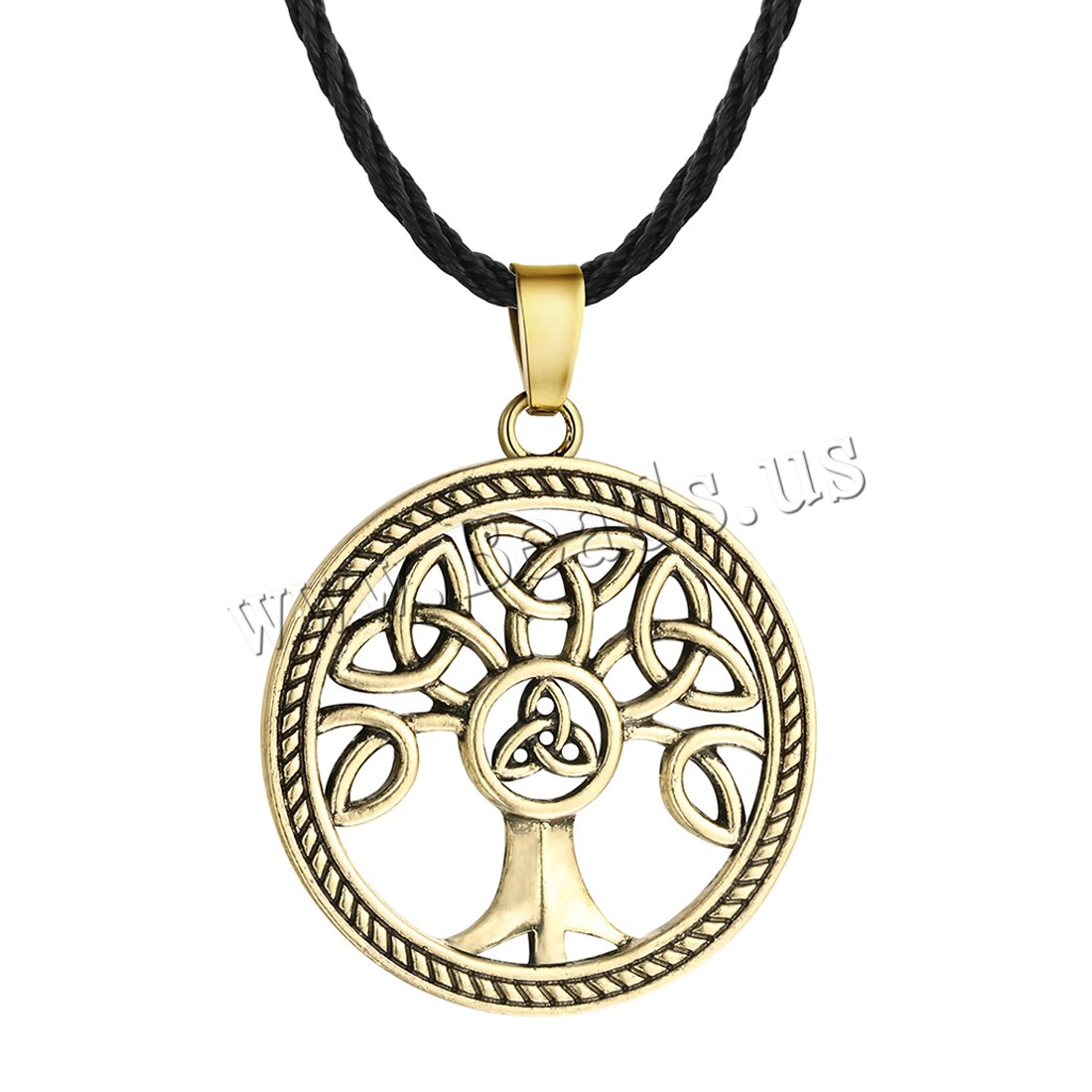 Buy Tree Life Necklace Zinc Alloy Waxed Linen Cord 5cm extender chain Flat Round plated tree life design & man colors choice lead & cadmium free 450mm Sold Per Approx 17.5 Strand