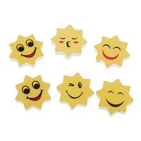 Holzperlen, Holz, Lächelndes Gesichte, gemischtes Muster, 21x21x5mm, Bohrung:ca. 1mm, 500PCs/Tasche, verkauft von Tasche