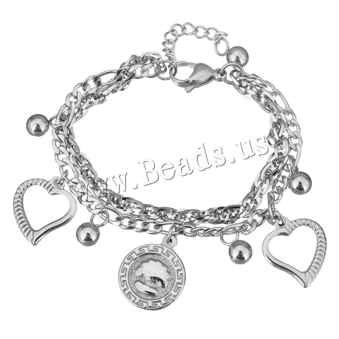 Buy Stainless Steel Jewelry Bracelet 1.5Inch extender chain charm bracelet & byzantine chain & curb chain & woman & 2-strand original color 16x19mm 16x18mm 4.5mm Sold Per Approx 6 Inch Strand