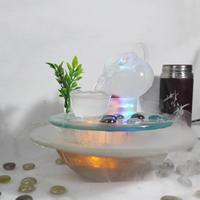 Indoor-Tabletop Entspannung Brunnen für Büro und Wohnzimmer, Glas, mit PVC Kunststoff, verschiedene Stile für Wahl & LED, 230x230x210mm, verkauft von PC