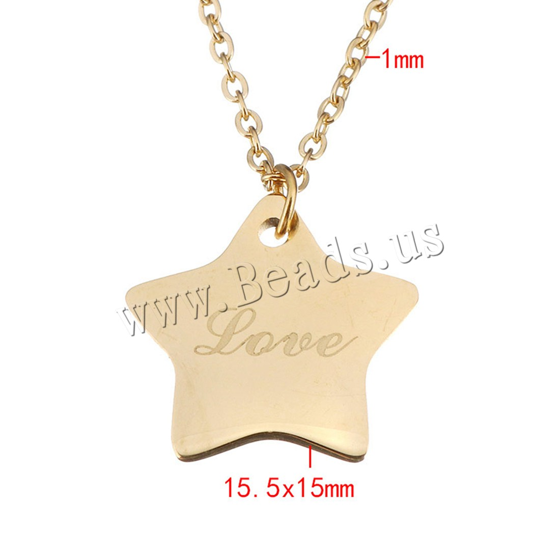 Buy Stainless Steel Jewelry Necklace Star word love gold color plated oval chain & woman 15.5x15mm 1mm Sold Per Approx 18 Inch Strand