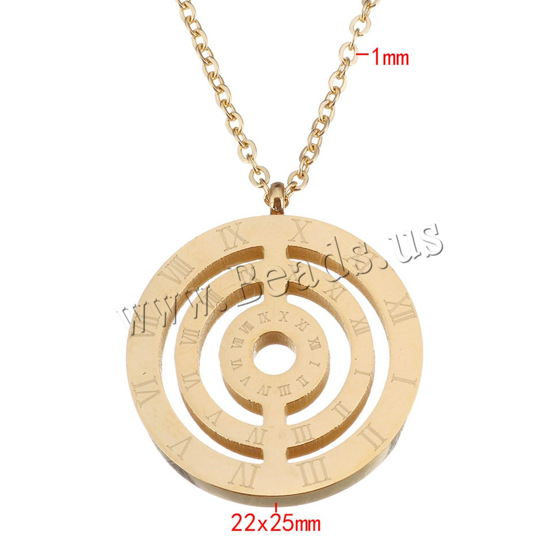Buy Stainless Steel Jewelry Necklace gold color plated roman number & oval chain & woman 22x25mm 1mm Length:Approx 18 Inch 10Strands/Lot Sold Lot