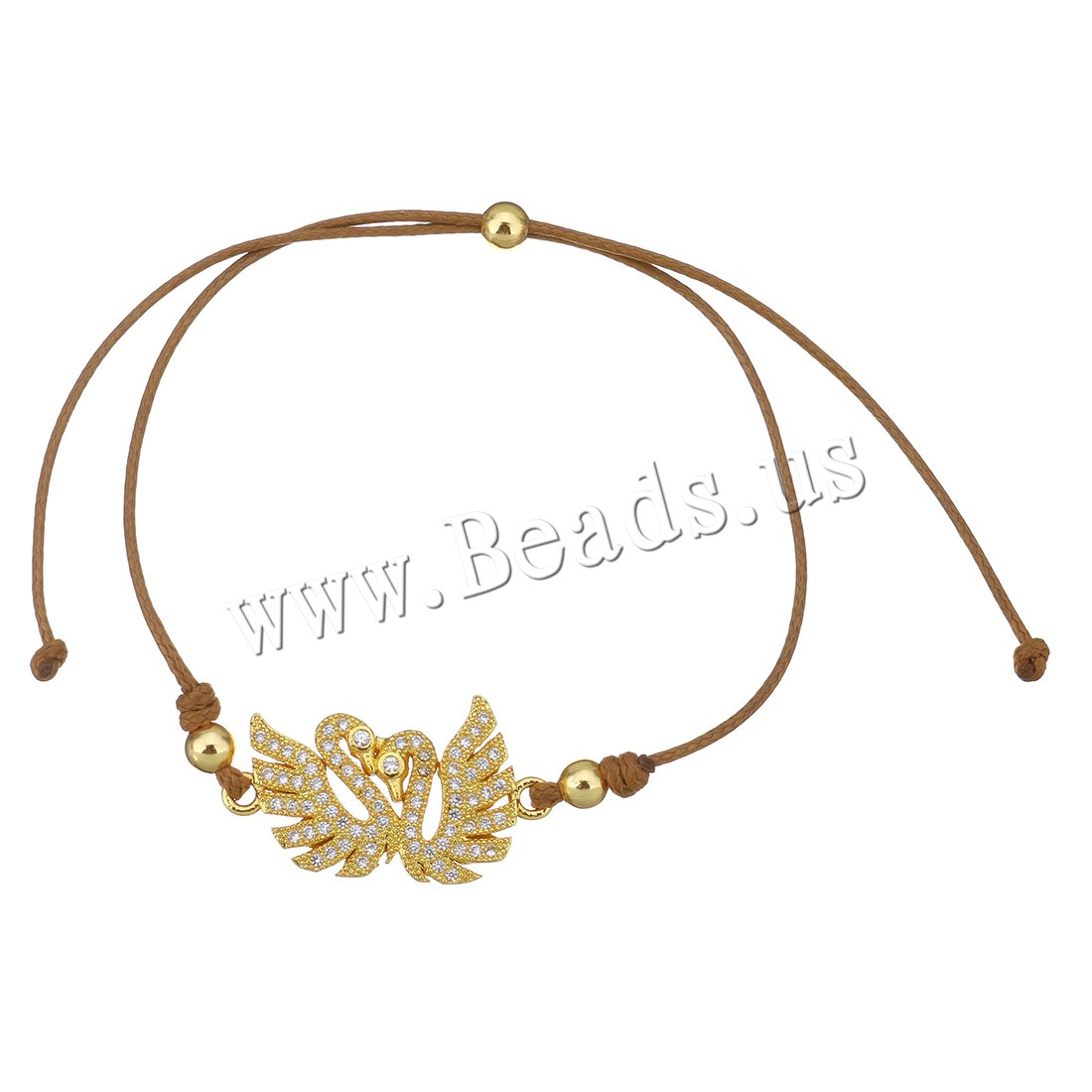 Buy Brass Woven Ball Bracelets Nylon Cord Swan real gold plated Unisex & adjustable & micro pave cubic zirconia 25x14.5mm 4mm 1mm Length:Approx 6-10 Inch 10Strands/Lot Sold Lot