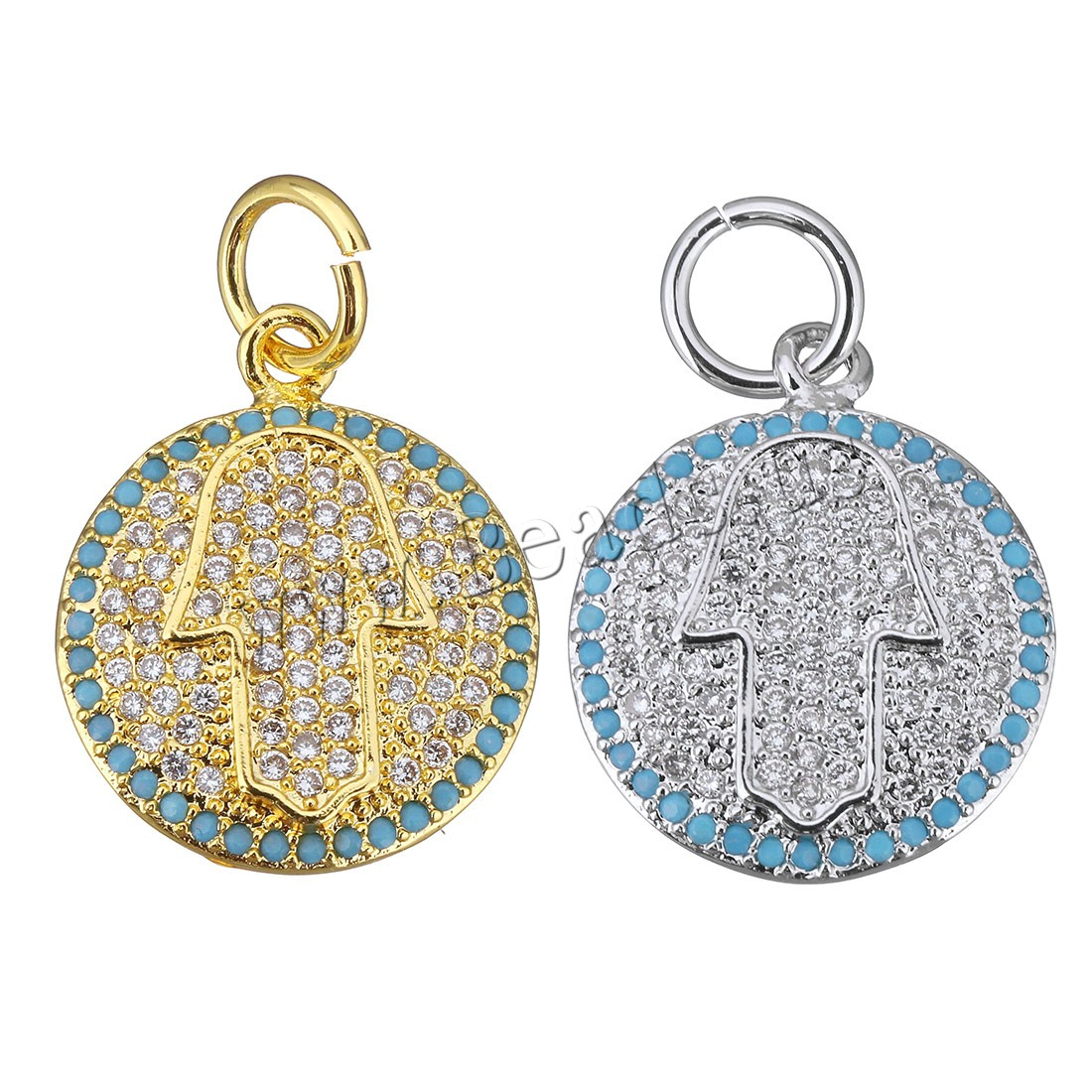 Buy Cubic Zirconia Micro Pave Brass Pendant Hamsa plated micro pave cubic zirconia colors choice 16x20x3mm Hole:Approx 5mm 1 Sold Lot