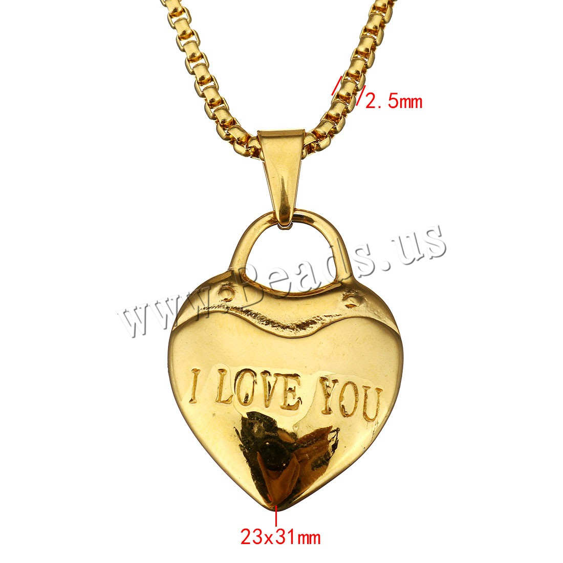 Buy Unisex Necklace Stainless Steel Lock word love gold color plated box chain 23x31mm 2.5mm Sold Per Approx 18 Inch Strand
