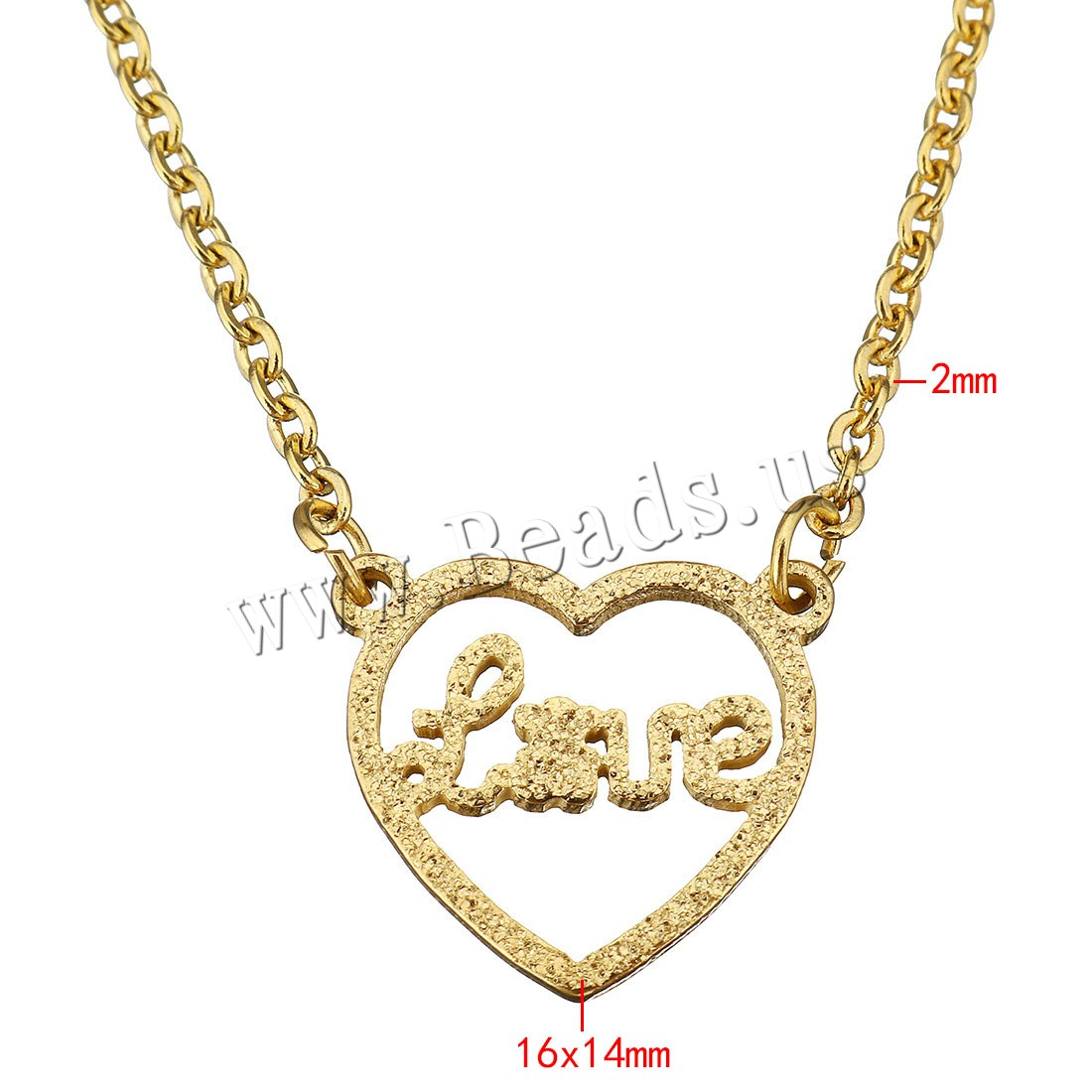 Buy Unisex Necklace Stainless Steel Heart word love gold color plated oval chain & hollow & stardust 16x14mm 2mm Sold Per Approx 18 Inch Strand