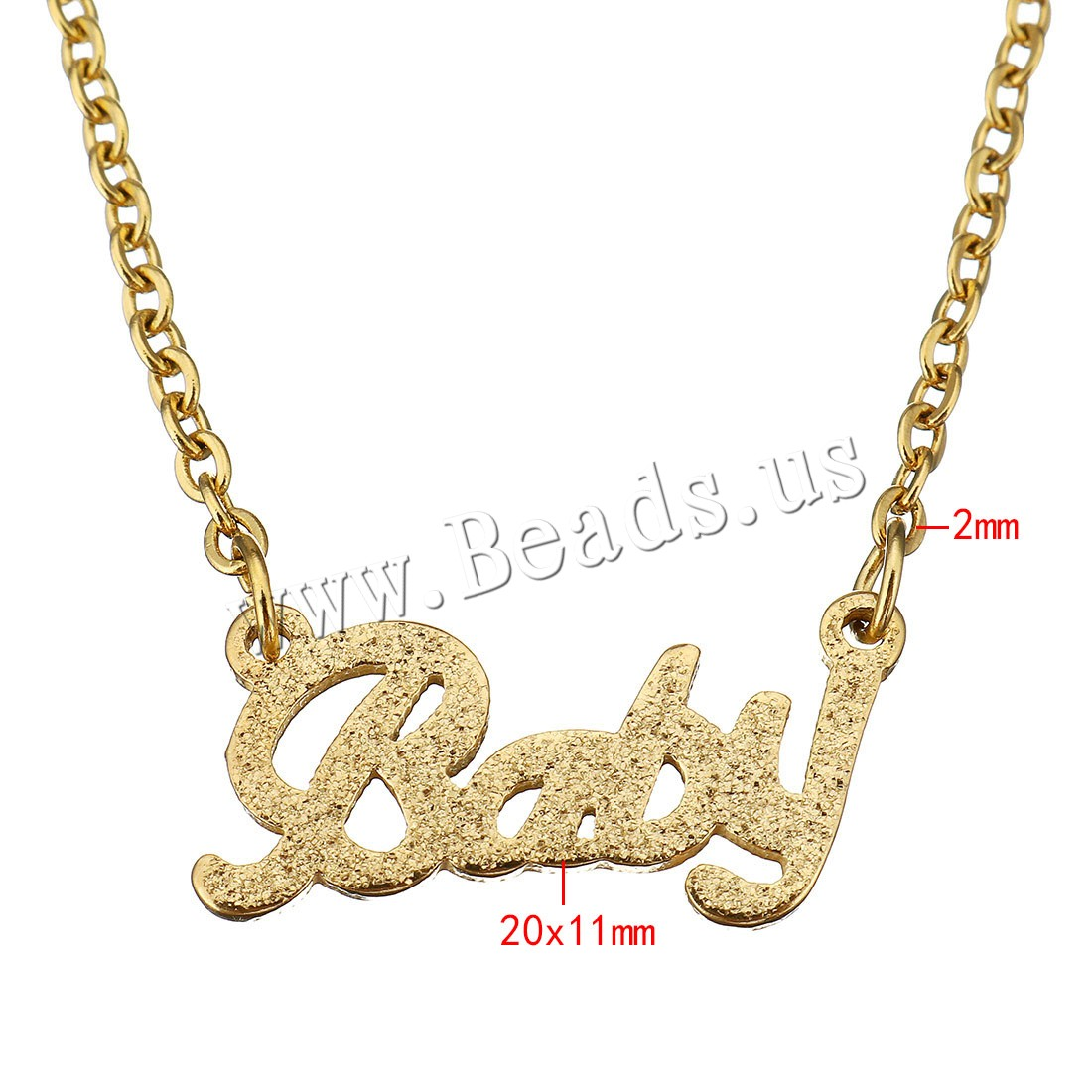 Buy Unisex Necklace Stainless Steel Letter word baby gold color plated oval chain & hollow & stardust 20x11mm 2mm Sold Per Approx 18 Inch Strand