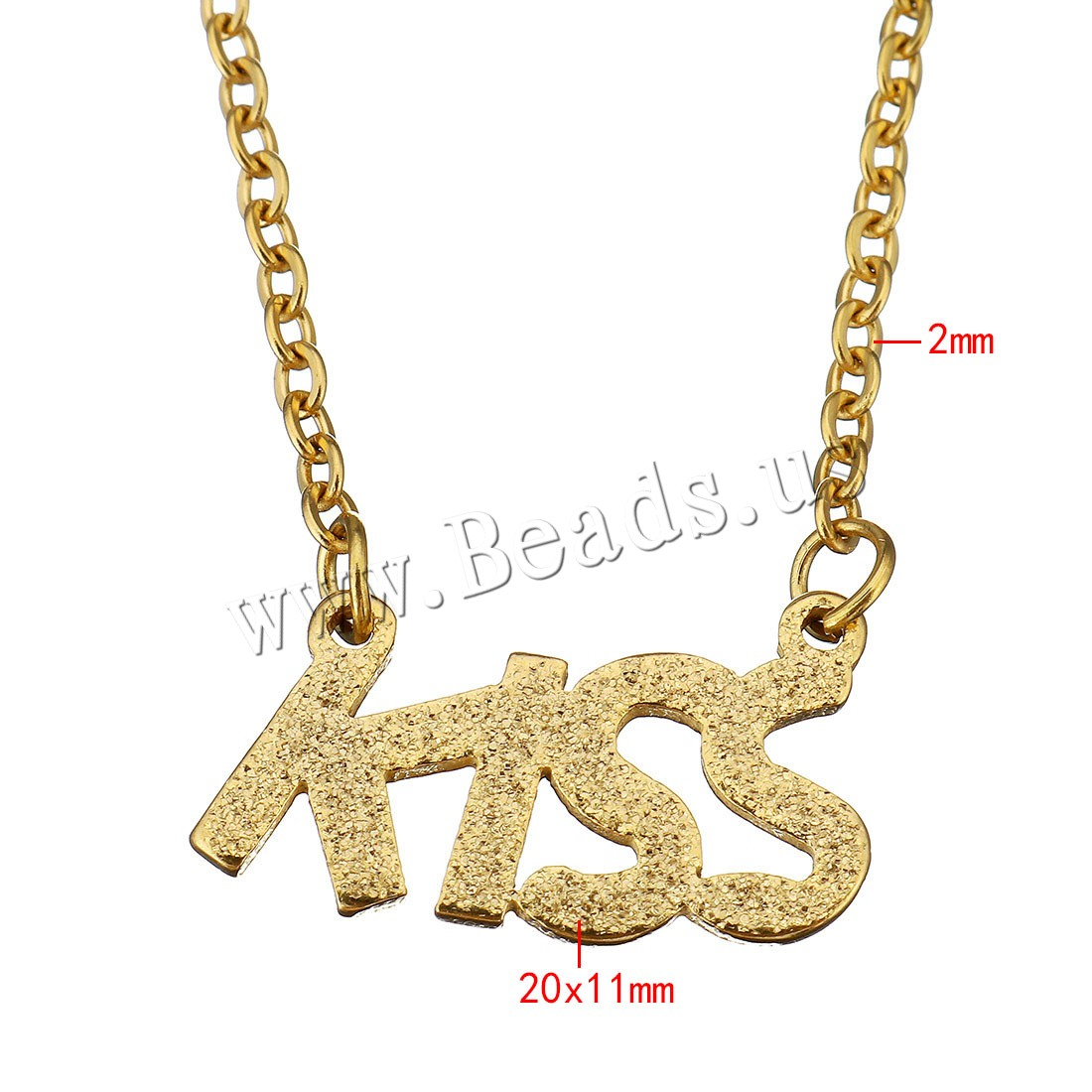 Buy Unisex Necklace Stainless Steel Letter word kiss gold color plated oval chain & stardust 20x11mm 2mm Sold Per Approx 18 Inch Strand