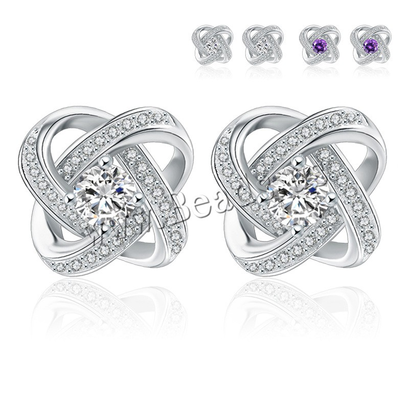 Buy Cubic Zirconia Micro Pave Sterling Silver Earring 925 Sterling Silver Crystal platinum plated micro pave cubic zirconia & woman & faceted colors choice 11x11mm 3Pairs/Lot Sold Lot