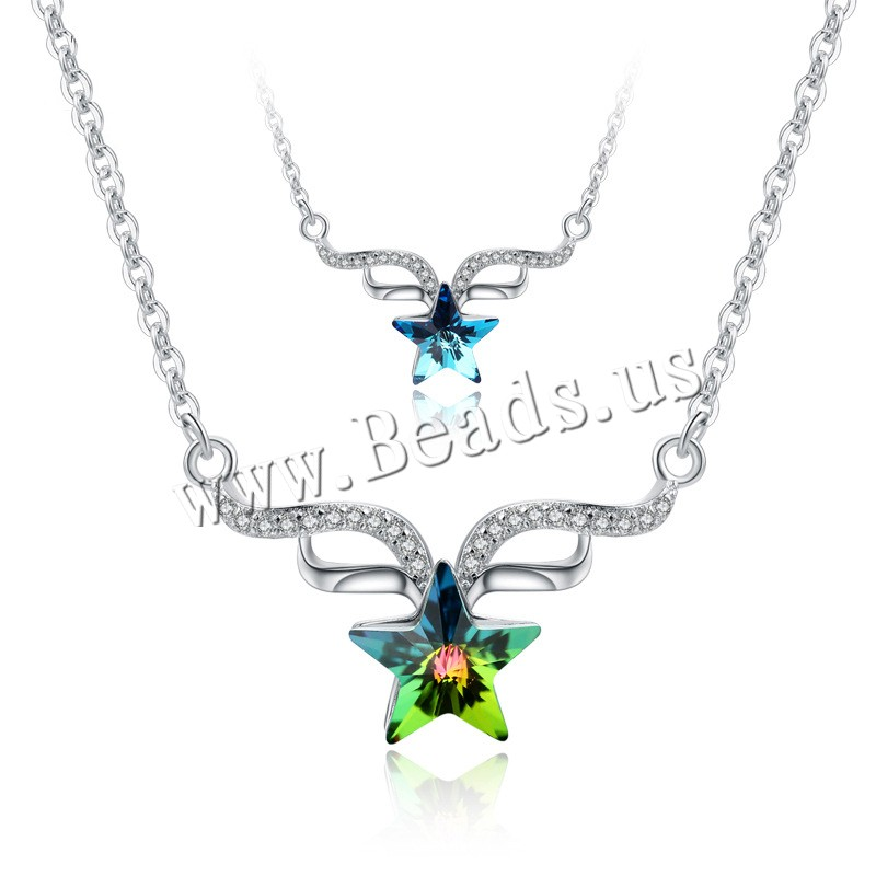 Buy Crystal Choker 925 Sterling Silver Crystal 2inch extender chain Star platinum plated wing pattern & oval chain & woman & faceted & rhinestone colors choice 18x16mm Length:Approx 14.5 Inch 3Strands/Lot Sold Lot