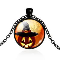 Halloween-Halskette, Zinklegierung, mit Eisenkette & Glas, flache Runde, plattiert, Zeit Edelstein Schmuck & Halloween Schmuck & Oval-Kette & für Frau, keine, frei von Blei & Kadmium, 25mm, verkauft per ca. 17.5 ZollInch Strang