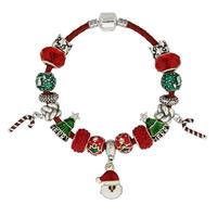 Zinklegierung European Armband, mit PU Leder & Kristall, plattiert, unterschiedliche Länge der Wahl & Weihnachtsschmuck & für Frau & Emaille & facettierte & mit Strass, frei von Blei & Kadmium, 180-220mm, verkauft von Strang