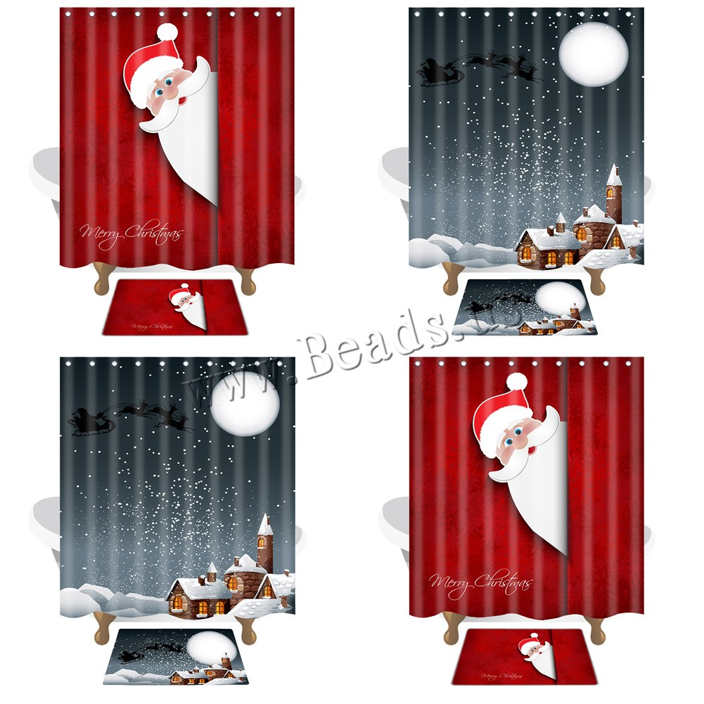 Buy Polyester Shower Curtain Set Rectangle Christmas jewelry & different designs choice & letter pattern 150x180cm 40x60cm Sold Set